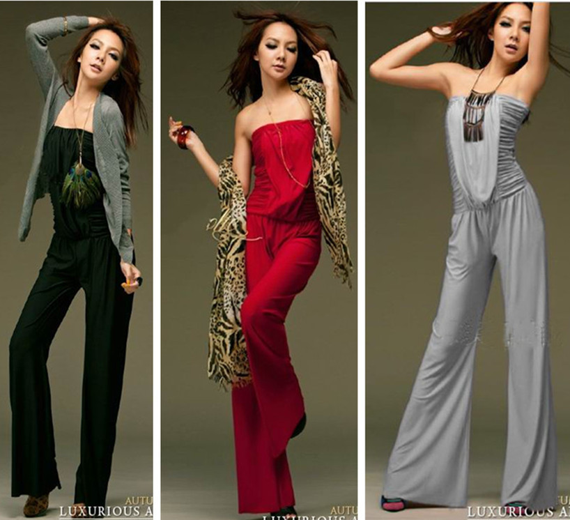 Free shipping 2012 Spring Summer New Fashion Sexy Casual Black Red Strapless Milk Silk Jumpsuits And rompers For Ladies Women