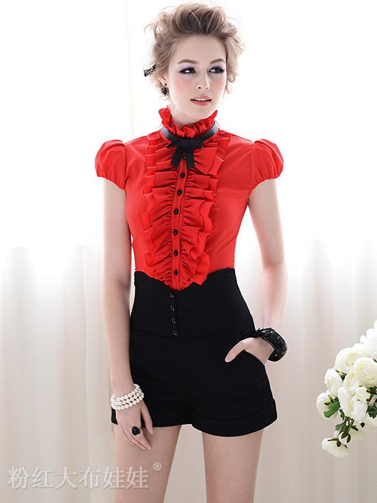 Free shipping 2012 summer black High waist women's shorts, Brand  shorts women Button decoration  plu size   S M L XL