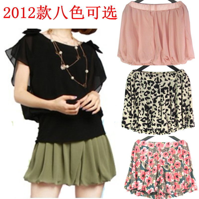 Free shipping 2012 summer fashion chiffon skirt pants women's loose culottes elastic pants shorts high waist shorts