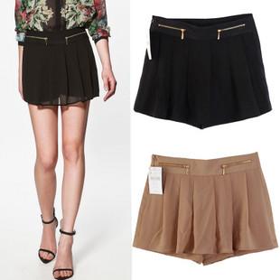 free shipping 2012 summer fashion double zipper chiffon shorts black culottes shorts skorts