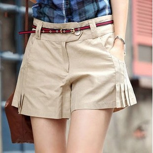 FREE SHIPPING 2012 summer fashion women's solid color brief belt pleated 100% cotton shorts culottes - shorts013