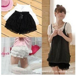 Free shipping! 2012 summer high fashion 3 layers lace shorts women with knot,color black and white,wholesale,5 pcs/lot
