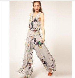 Free Shipping 2012 Summer newest fashion Chiffon Boot cut pants romper women/Jumpsuit pants skirt