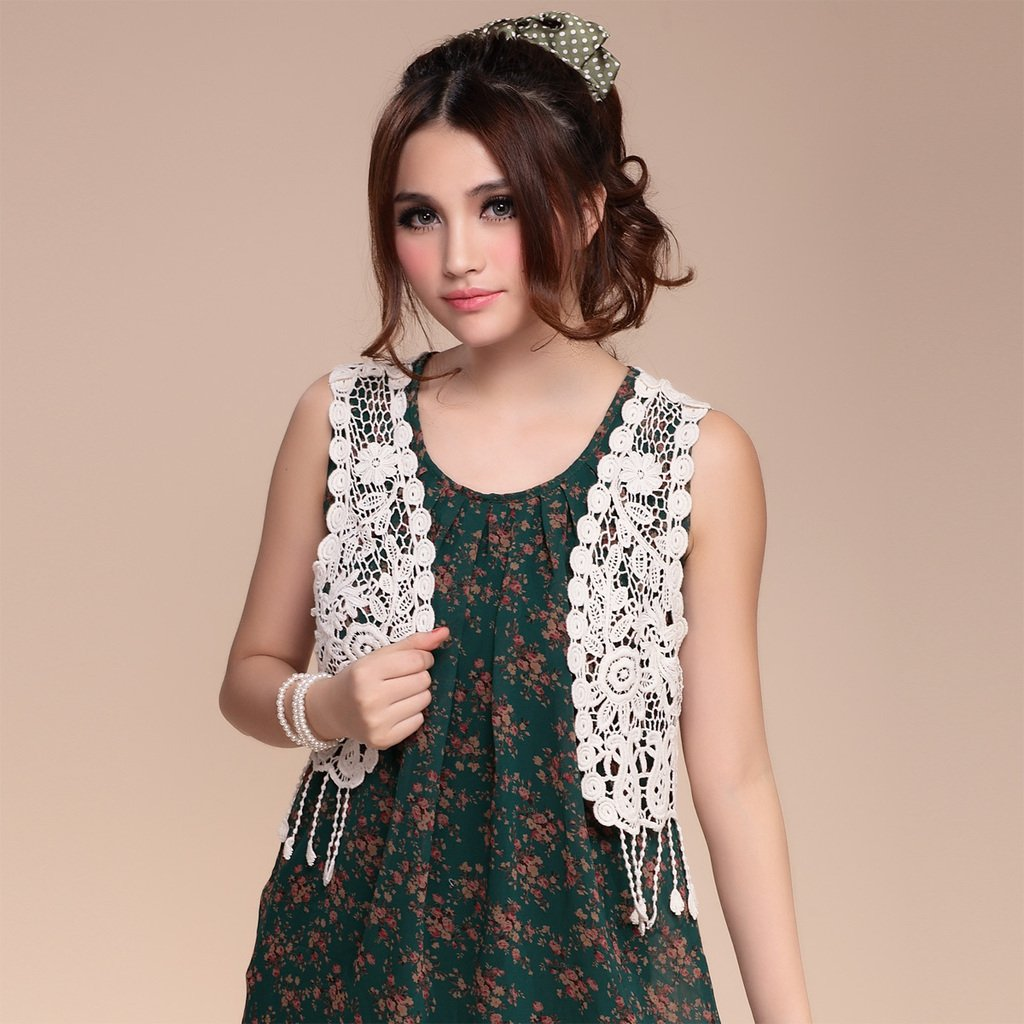 Free Shipping! 2012 Summer Tassel Sleeveless Lace Cutout Crochet Vest Shrug Small Cape Knitted Cardigan for Women B06684#