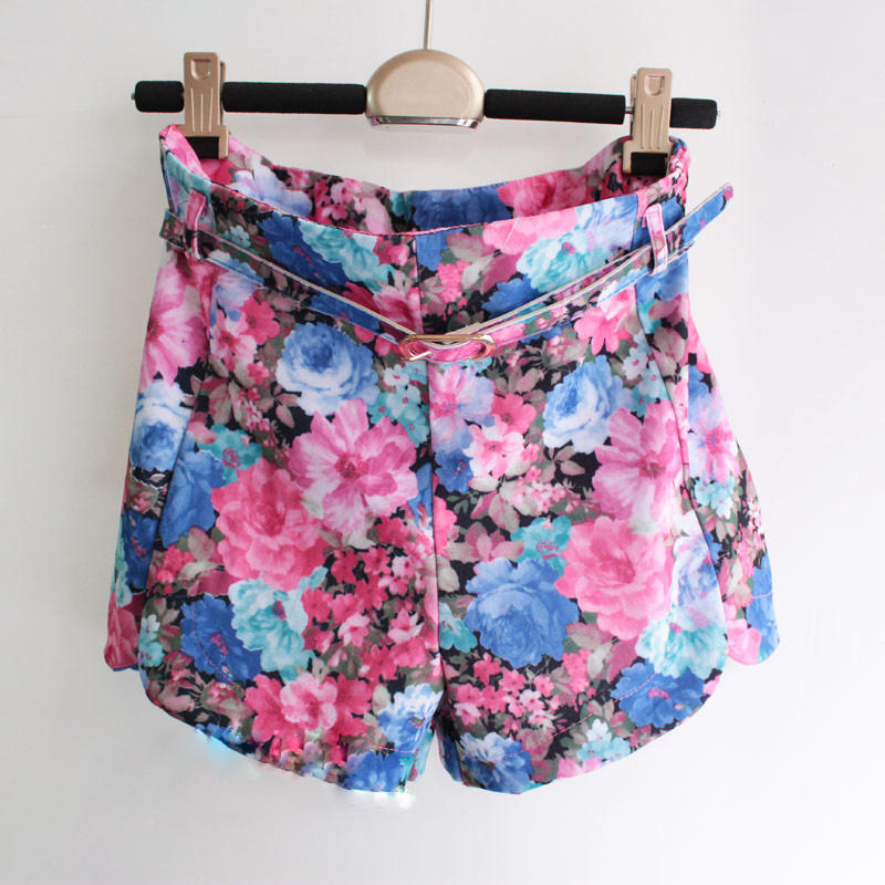 Free Shipping 2012 Summer vintage baroque rose high waist straight shorts print shorts with belt (Blue+Orange+S/M)120922#3