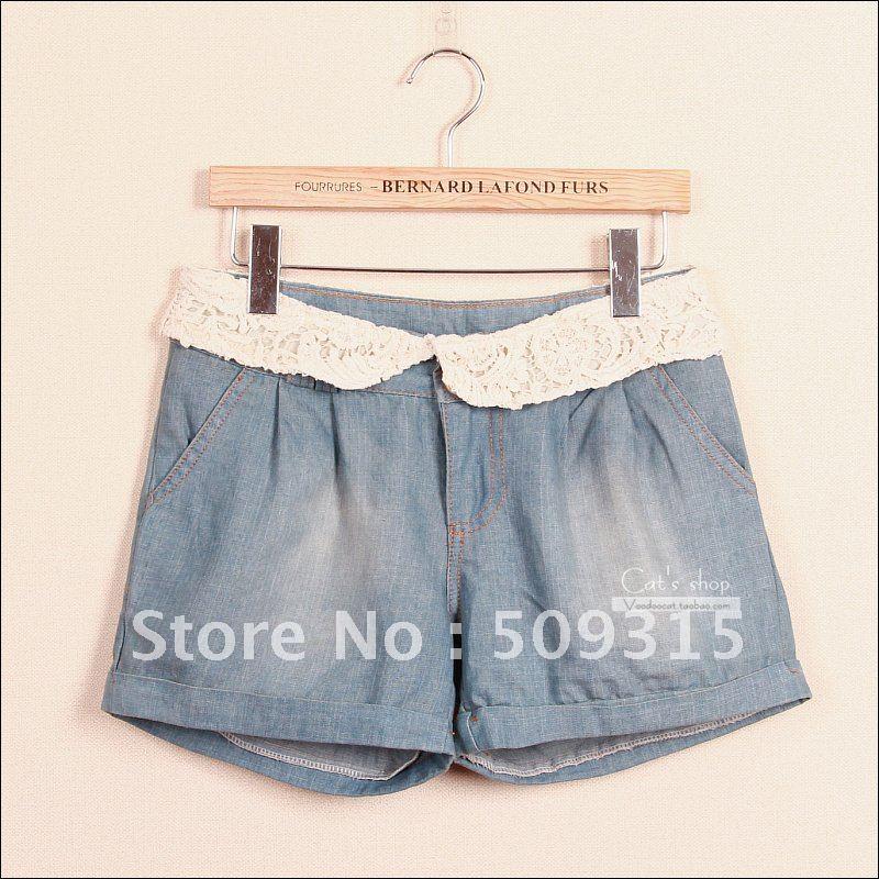 Free shipping 2012 summer vintage fresh lace decoration front button plus size denim shorts culottes shorts female