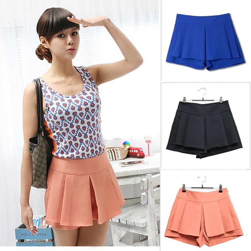 Free shipping 2012 summer women chiffon pantskirt plus size loose shorts legging skorts 1271 1piece/lot