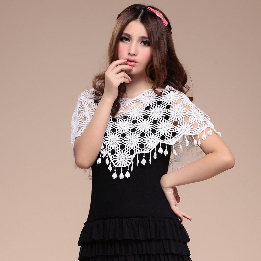 Free Shipping! 2012 Summer Women's All-match Cutout Loose Short Design Pullover Little Lap Sun Lace Cloak Shrug Cape B06677#