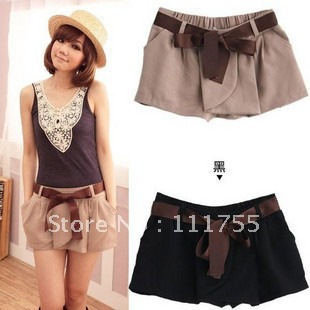 Free shipping 2012 summer women's elastic overalls shorts beach shorts fashion shorts