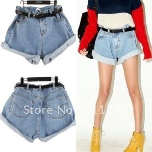 Free shipping ,2012 vintage high waist loose water wash light blue denim shorts .HOT Selling