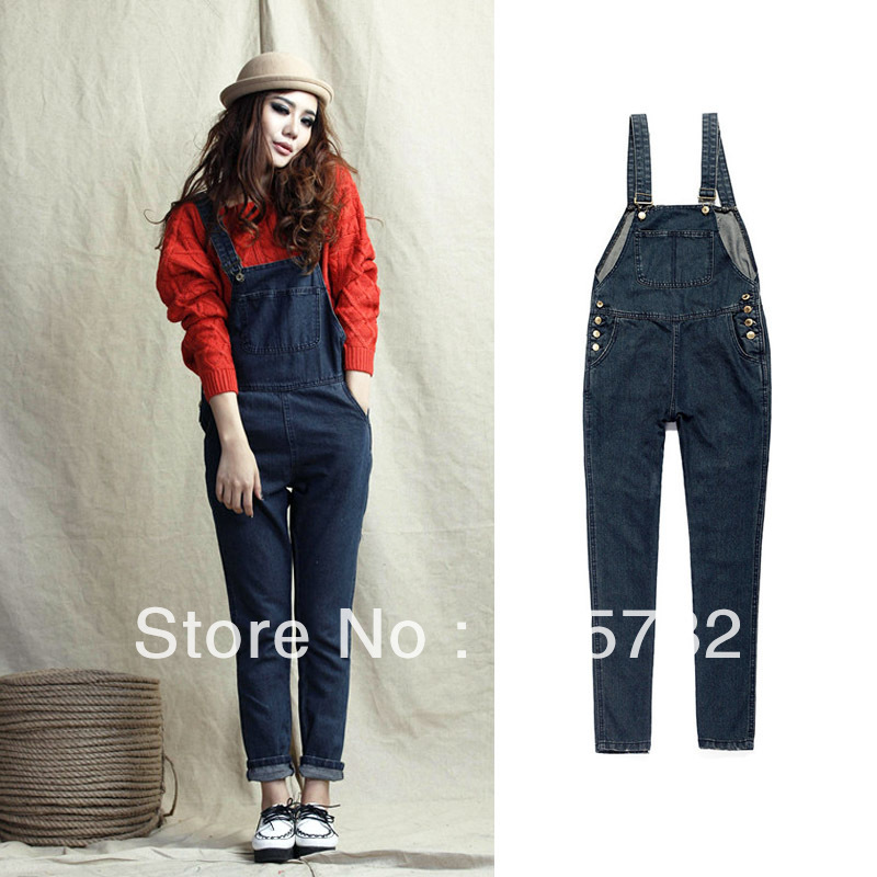 Free Shipping 2012 Winter Women jeans Female Plus Size Maternity Overalls Loose Denim Overalls For Women High Quality Jumpsuit