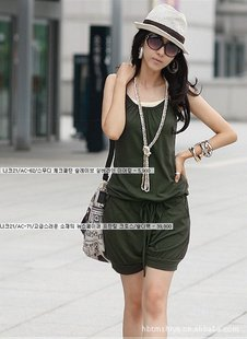 Free shipping 2012 women fahion sleeveless romer strap short jumpsuits scoop 2 colors(black+green)
