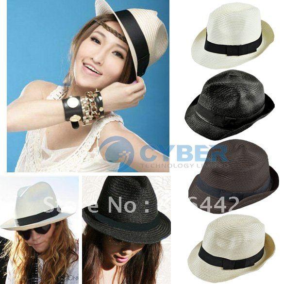 Free Shipping 2012 Women Fashion Korean Style Beach Cap Summer Fedoras Straw Hat 5317