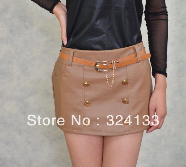 Free shipping 2012 Women's faux leather clubwear shorts solid color sexy safety split skirt  with elastic free size#PS003B