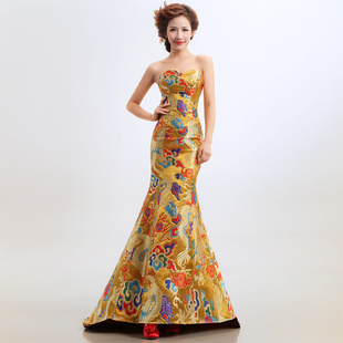 Free  Shipping 2012 Women's new arrival robes bridal evening Dress cheongsam wedding