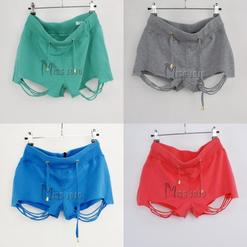 Free shipping 2012 women's ugly fashion wind hole tassel loop pile 100% cotton plus size shorts female