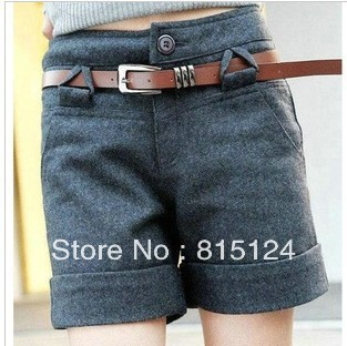 Free  shipping  2012    wool material female bootcut woolen cloth shorts