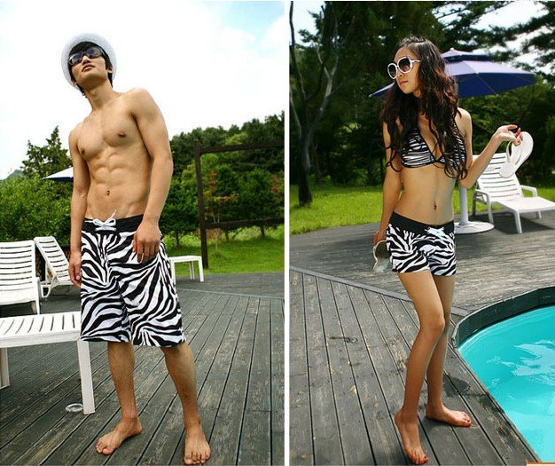 Free Shipping 2012Hot Fashion Couple Beach Stylish Zebra Hot Pants