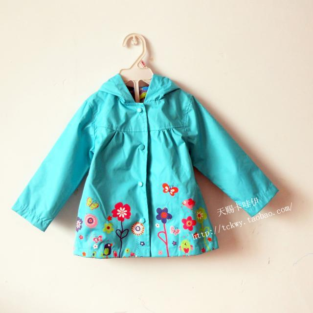 Free Shipping 2013 autumn baby child female child top flower with a hood trench lovely outerwear