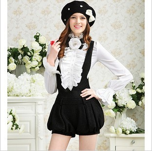 Free Shipping  2013 autumn new style thin deep v vest with silver Joker display piece bloomers