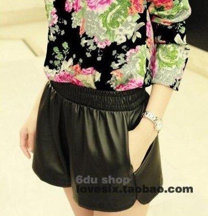 Free shipping 2013 autumn winter new arrival fashion women lady 5 color pocket PU shorts lady leather shorts s1462