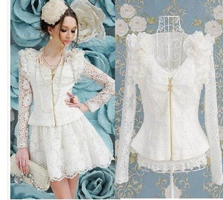 Free shipping 2013 Brand new stylish women sweet heart lace jackets wtih flowers,  ladies fashion coat ourwear Color white