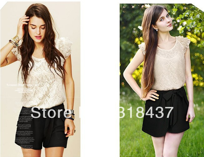 Free Shipping 2013 Fashion Chiffon  Lace Ruffle Sleeve O-neck  High Quality Jumpsuits ,WF1004