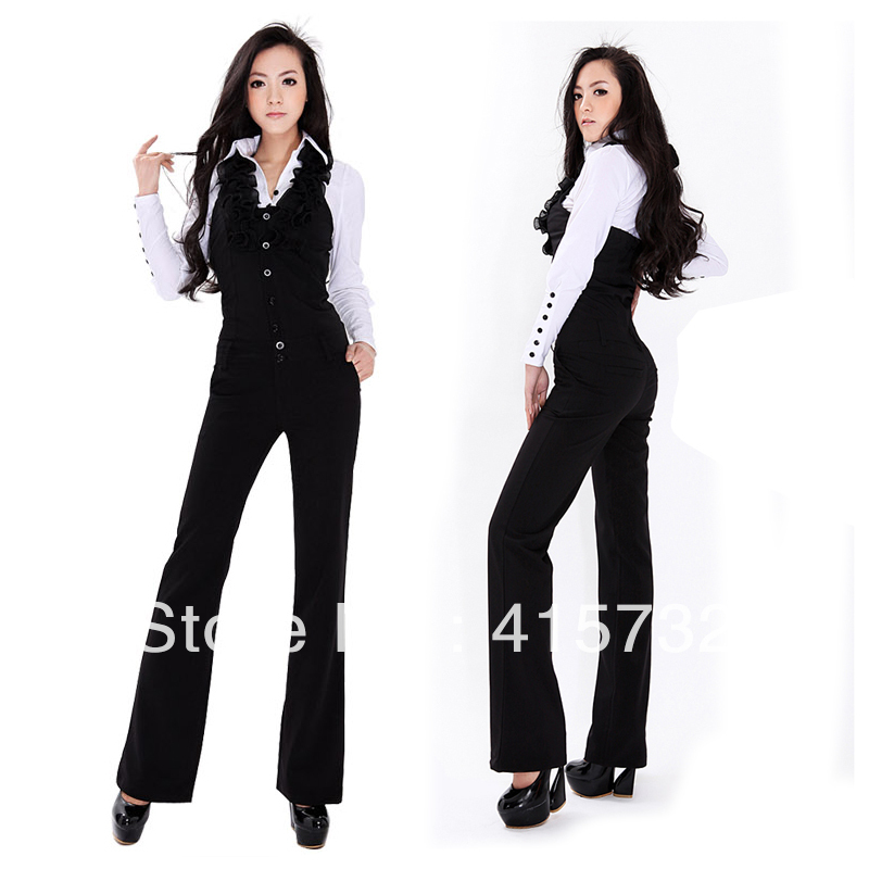 Free Shipping 2013 Fashion Halter Jumpsuits For Women Slim Bib Pants Ruffles Overalls Office Ladies Black Jumpsuit And Rompers