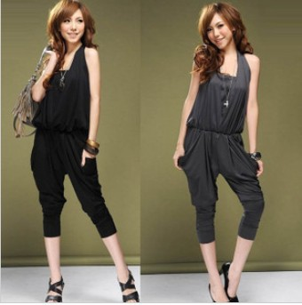 Free Shipping 2013 Fashion Sexy Jumpsuit Women Loose Harem Pants Shorts Overalls Women's Jumpsuits Gray Black Blue