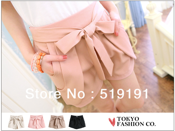 Free Shipping 2013 Fashion  Solid  Women's Shorts With Bow/Beach Shorts/Hot Pant /Cute Shorts/4 Colors
