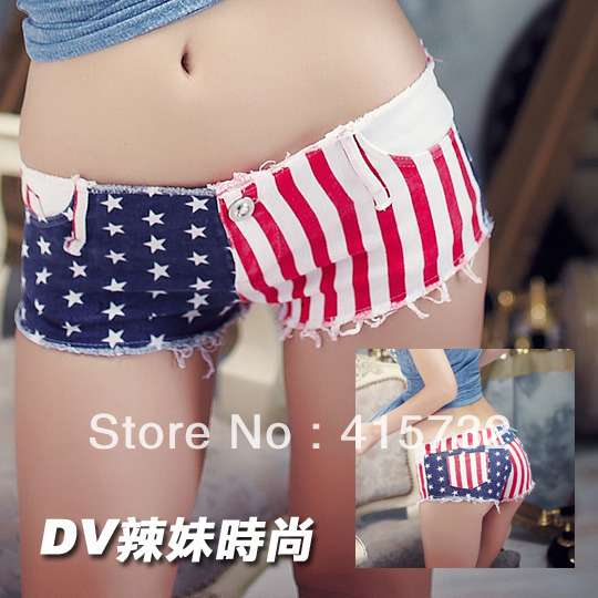 Free Shipping 2013 Fashion Women Sexy Hip-hop Costume National Flag Pole Dance Star And Striped Pattern Ladies' Club Shorts Pans