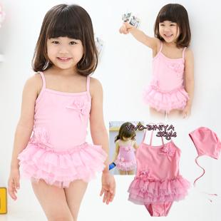 - free shipping!!!2013  female child swimwear, gauze cake tulle dress ,hot spring swimwear , girl's cute fahion bikini!