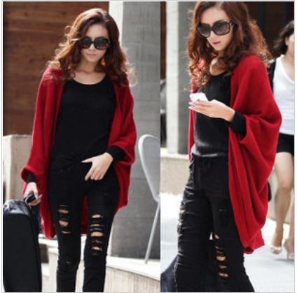 FREE SHIPPING/2013 Hot Sale Women Lady Loose Bat dolman Sleeve Knit Sweater Top Cardigan Shawl Cape, S-816