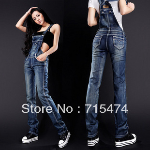 Free Shipping 2013 Jumpsuit For Women Pants denim Overalls High Quality Trousers Romper Casual Plus size Jeans Suspenders