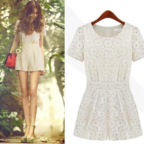 Free Shipping 2013 Lace fashion slim shorts short-sleeve fashion set jumpsuits JB121044