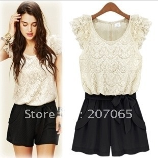 Free shipping 2013 lace ruffle sleeve jumpsuits overall,women shorts,women jumpsuits SIZE S,M,L XL, 3 colour