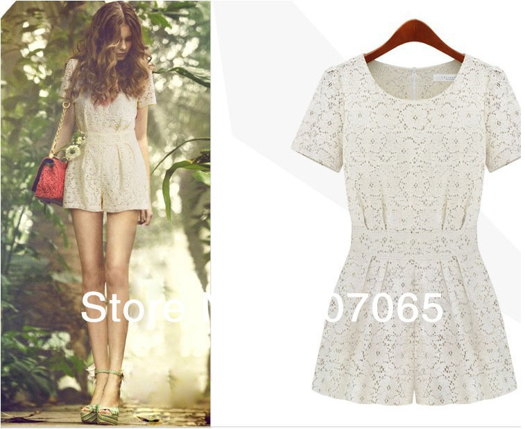 Free shipping 2013 lace sleeve jumpsuits overall,women shorts,women jumpsuits SIZE S,M,L XL