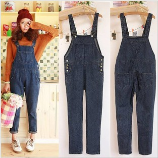 Free Shipping 2013 ladies jeans rompers casual streetwear dark blue jeans pants full length fashion pants size S-L