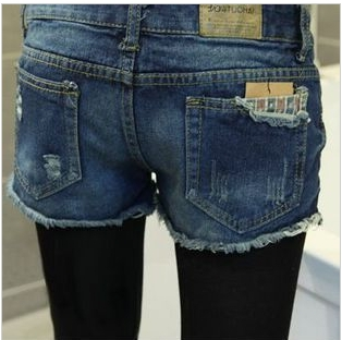Free Shipping 2013 Lady Lace Pocket Denim Shorts, Frayed Shorts,Womens Short Hot Pants S,M,L,XL,XXL