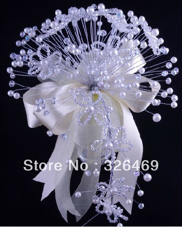 Free shipping  2013 new acrylic crystal girl bouquets wedding bridal faux pearl white teardrop beads artificial flower bouquet