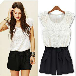 Free Shipping 2013 New Arrival Banie Women's Fashion Europe Style Lace Sleeveless Romper Short Jumpsuits