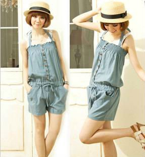 Free Shipping 2013 New Arrival Beibei Women's Jean Korea Style Fashion Sleeveless Romper Strap Short Jumpsuit
