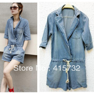 Free Shipping 2013 New Arrival Blue Jean Overalls Women Summer Denim Short Pants Half Sleeve Plus Size Turn-down Collar  Romper