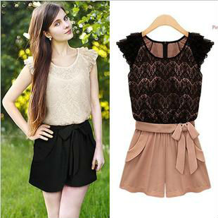 Free Shipping 2013 New Arrival Jaxune Europe Style Women's Fashion Lace Sleeveless Romper Short Jumpsuits