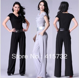 Free Shipping 2013 New Arrival OL Black And Grey Summer Jumpsuit With Short Sleeve For Women Fashion Straight Romper Trousers