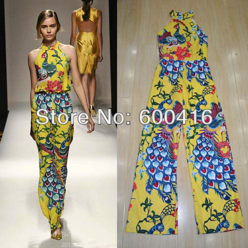 Free  Shipping 2013 New Arrival Perfect Peacock printed off Shoulder Silk Jumpsuits for women 1225SD06