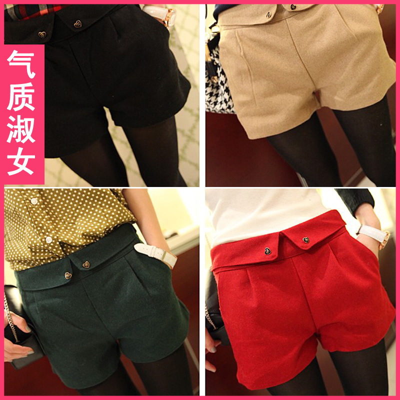 Free Shipping 2013 new arrival Women's elegant woolen shorts Turn-Up Straight Boot Cut Casual Short pants 4Colors S M L