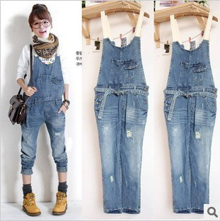 Free Shipping 2013 new arrival womens fashion jeans cool straight long rompers jeans pants hot sale size M L XL