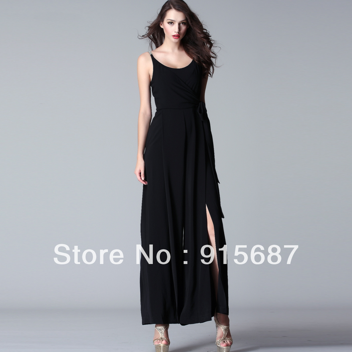 Free shipping 2013 new arrive  Cheongsam-style luxury diamond style long side slit the vertical texture Siamese pants Q