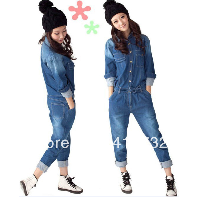 Free Shipping 2013 New Denim Jumpsuit For Women Detachable Overalls With Long Sleeve Spring And Autumn Casual Jeans Trousers